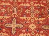 "A01652  7'10"" X  9' 5"" Transitional 8x10 RED LT. GREEN Hand Knotted                   Pakistan    100% Wool   Rectangle"