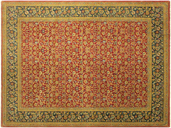 "A01716, 9' 2"" X 12' 2"",Traditional                   ,9' x 12',Red,TEAL,Hand-knotted                  ,Pakistan   ,100% Wool  ,Rectangle  ,652671138089"