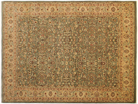"A01747, 9' 1"" X 12' 9"",Traditional                   ,9' x 12',Green,TAN,Hand-knotted                  ,Pakistan   ,100% Wool  ,Rectangle  ,652671138393"