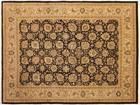 handmade Traditional Design Brown Tan Hand Knotted RECTANGLE 100% WOOL area rug 9x12