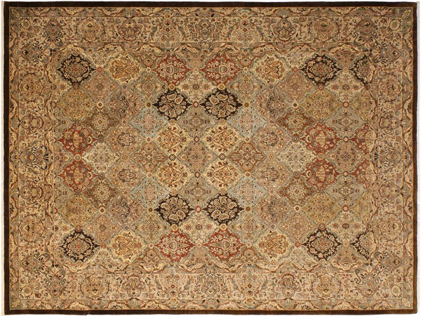 handmade Traditional Design Brown Multi Hand Knotted RECTANGLE 100% WOOL area rug 9x12