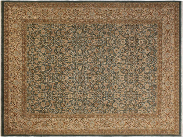 "A01783, 9' 0"" X 11' 9"",Traditional                   ,9' x 12',Green,IVORY,Hand-knotted                  ,Pakistan   ,100% Wool  ,Rectangle  ,652671138744"