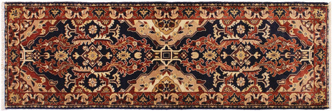 "A01796, 2' 7"" X  7' 9"",Transitiona,3' x 8',Blue,RED,Hand-knotted                  ,Pakistan   ,100% Wool  ,Runner     ,652671138874"