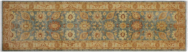 "A01813, 2' 6"" X  9' 5"",Traditional                   ,3' x 9',Grey,LT. TAN,Hand-knotted                  ,Pakistan   ,100% Wool  ,Runner     ,652671139024"