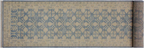 "A01824, 2'10"" X 12' 5"",Transitional                  ,3' x 12',Blue,IVORY,Hand-knotted                  ,Pakistan   ,100% Wool  ,Runner     ,652671139130"