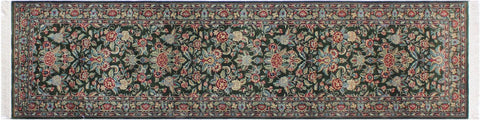"A01834, 2' 7"" X  9'11"",Traditional                   ,3' x 10',Green,BLUE,Hand-knotted                  ,Pakistan   ,100% Wool  ,Runner     ,652671139239"