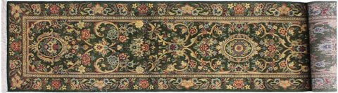"A01839, 2' 6"" X 12' 2"",Traditional                   ,3' x 12',Green,GOLD,Hand-knotted                  ,Pakistan   ,100% Wool  ,Runner     ,652671139284"