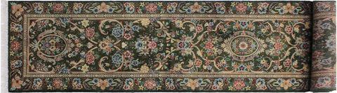 "A01843, 2' 7"" X 11'11"",Traditional                   ,3' x 12',Green,BLUE,Hand-knotted                  ,Pakistan   ,100% Wool  ,Runner     ,652671139321"