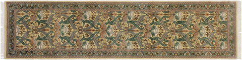"A01858, 2' 4"" X  9'11"",Traditional                   ,2' x 10',Gold,GREEN,Hand-knotted                  ,Pakistan   ,100% Wool  ,Runner     ,652671139475"