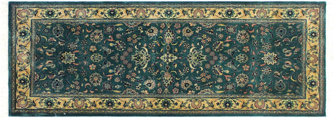 "A01862, 2' 7"" X  6' 1"",Traditional                   ,3' x 6',Green,IVORY,Hand-knotted                  ,Pakistan   ,100% Wool  ,Runner     ,652671139512"