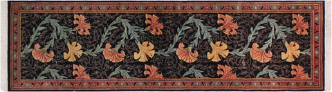 "A01872, 2' 7"" X  7' 9"",Traditional                   ,3' x 8',Black,PINK,Hand-knotted                  ,Pakistan   ,100% Wool  ,Runner     ,652671139611"