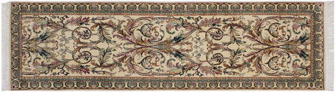 "A01879, 2' 7"" X  9' 5"",Traditional                   ,3' x 10',Natural,GREEN,Hand-knotted                  ,Pakistan   ,100% Wool  ,Runner     ,652671139673"