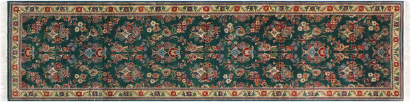 "A01884, 2' 8"" X 10' 0"",Traditional                   ,3' x 10',Green,IVORY,Hand-knotted                  ,Pakistan   ,100% Wool  ,Runner     ,652671139727"