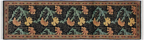 "A01885, 2' 8"" X 10' 1"",Traditional                   ,3' x 10',Black,PINK,Hand-knotted                  ,Pakistan   ,100% Wool  ,Runner     ,652671139734"