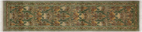"A01886, 2' 6"" X 10' 1"",Traditional                   ,3' x 10',Silver,GREEN,Hand-knotted                  ,Pakistan   ,100% Wool  ,Runner     ,652671139741"
