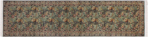 "A01887, 2' 5"" X 10' 2"",Traditional                   ,3' x 10',Green,LT. GRAY,Hand-knotted                  ,Pakistan   ,100% Wool  ,Runner     ,652671139758"