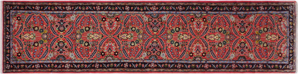 "A01898, 2' 8"" X 10' 3"",Geometric                     ,3' x 10',Pink,BLUE,Hand-knotted                  ,Iran       ,100% Wool  ,Runner     ,652671139864"
