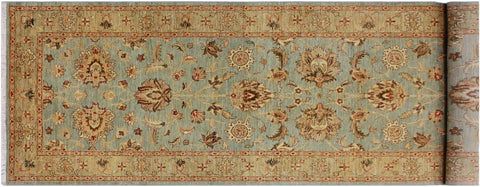 "A01913, 4' 0"" X 11' 7"",Traditional                   ,4' x 12',Blue,LT. GREEN,Hand-knotted                  ,Pakistan   ,100% Wool  ,Runner     ,652671140013"