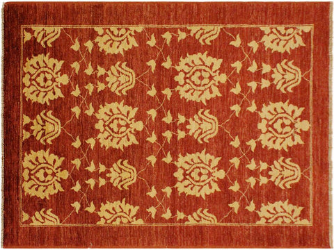 "A01925, 3' 7"" X  6' 0"",Transitional                  ,4' x 6',Red,GOLD,Hand-knotted                  ,Pakistan   ,100% Wool  ,Rectangle  ,652671140136"