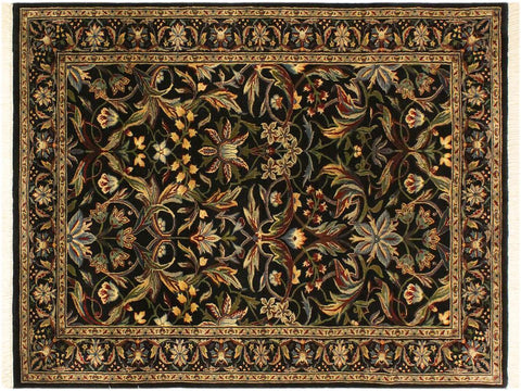 "A01934, 4' 2"" X  6' 2"",Transitional                  ,4' x 6',Black,BLUE,Hand-knotted                  ,Pakistan   ,100% Wool  ,Rectangle  ,652671140228"