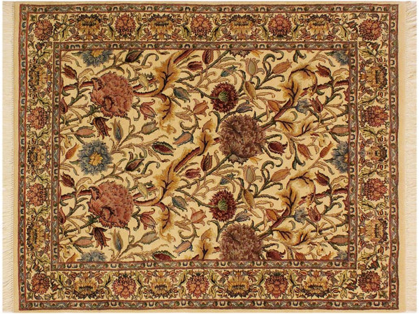 "A01938, 4' 0"" X  5'10"",Transitional                  ,4' x 6',Natural,PINK,Hand-knotted                  ,Pakistan   ,100% Wool  ,Rectangle  ,652671140266"