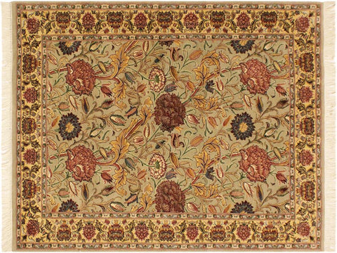 "A01942, 4' 0"" X  6' 0"",Transitional                  ,4' x 6',Tan,BLUE,Hand-knotted                  ,Pakistan   ,100% Wool  ,Rectangle  ,652671140303"