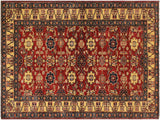 "A01943, 4' 1"" X  5'10"",Geometric                     ,4' x 6',Red,IVORY,Hand-knotted                  ,Pakistan   ,100% Wool  ,Rectangle  ,652671140310"