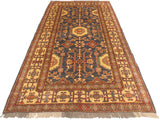 "A01946, 3'11"" X  6' 3"",Geometric                     ,4' x 6',Blue,IVORY,Hand-knotted                  ,Pakistan   ,100% Wool  ,Rectangle  ,652671140341"
