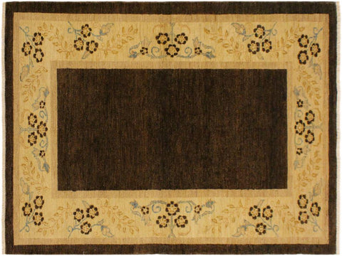 handmade Modern Gabbeh Brown Beige Hand Knotted RECTANGLE 100% WOOL area rug 4 x 6