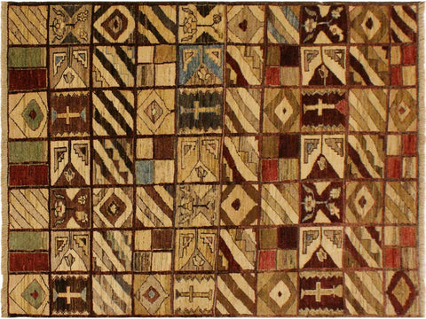 "A01966, 3'11"" X  5' 7"",Modern                        ,4' x 6',Brown,GREEN,Hand-knotted                  ,Pakistan   ,100% Wool  ,Rectangle  ,652671140549"
