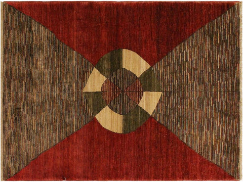 handmade Modern Gabbeh Red Brown Hand Knotted RECTANGLE 100% WOOL area rug 4 x 6