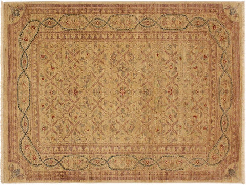 "A01982, 4' 2"" X  5'10"",Transitional                  ,4' x 6',Tan,BROWN,Hand-knotted                  ,Pakistan   ,100% Wool  ,Rectangle  ,652671140709"