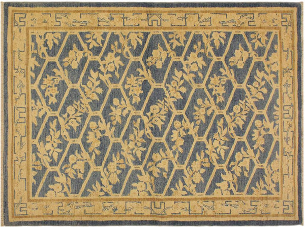 "A02001, 4' 2"" X  6' 1"",Transitional                  ,4' x 6',Blue,TAN,Hand-knotted                  ,Pakistan   ,100% Wool  ,Rectangle  ,652671140891"