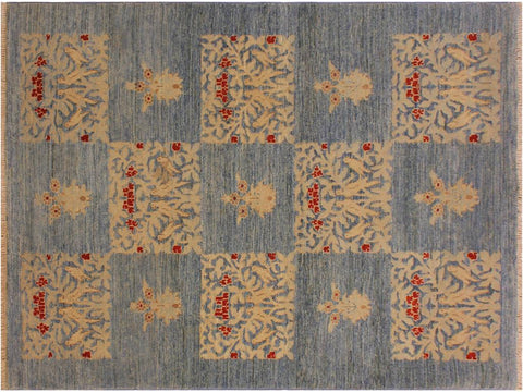 "A02003, 4' 2"" X  5'10"",Transitional                  ,4' x 6',Blue,LT. BLUE,Hand-knotted                  ,Pakistan   ,100% Wool  ,Rectangle  ,652671140914"