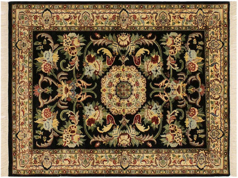 "A02005, 4' 1"" X  6' 3"",Traditional                   ,4' x 6',Black,IVORY,Hand-knotted                  ,Pakistan   ,100% Wool  ,Rectangle  ,652671140938"