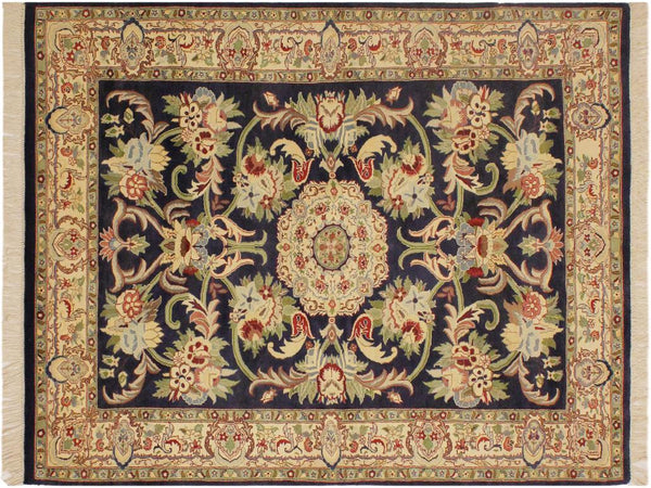 "A02006, 4' 0"" X  6' 1"",Traditional                   ,4' x 6',Blue,IVORY,Hand-knotted                  ,Pakistan   ,100% Wool  ,Rectangle  ,652671140945"
