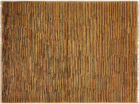handmade Modern Gabbeh Beige Rust Hand Knotted RECTANGLE 100% WOOL area rug 4 x 6