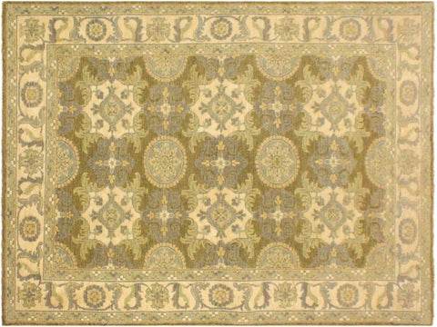 "A02023, 4' 1"" X  6' 1"",Transitional                  ,4' x 6',Green,IVORY,Hand-knotted                  ,Pakistan   ,100% Wool  ,Rectangle  ,652671141119"