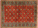handmade Geometric Sherwan Red Gray Hand Knotted RECTANGLE 100% WOOL area rug 4x6,Hand knotted indoor Sherwan wool area rug made for all rooms with high quality wool in rich color pallet handmade by skilled artisans in geometric allover design is known for quality and affordability Oriental hand made rug offered at cheap discount for any decor one of a kind Shirwan Sharvan Shervan Sherwan Servan rug