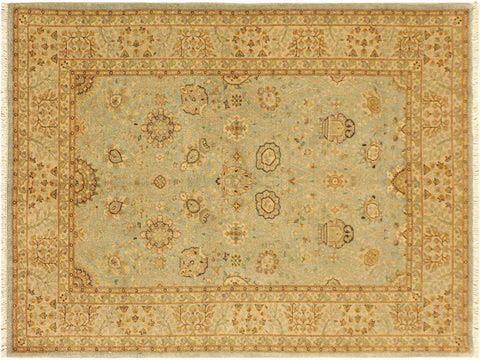 "A02025, 4' 2"" X  5'10"",Traditional                   ,4' x 6',Blue,GOLD,Hand-knotted                  ,Pakistan   ,100% Wool  ,Rectangle  ,652671141133"
