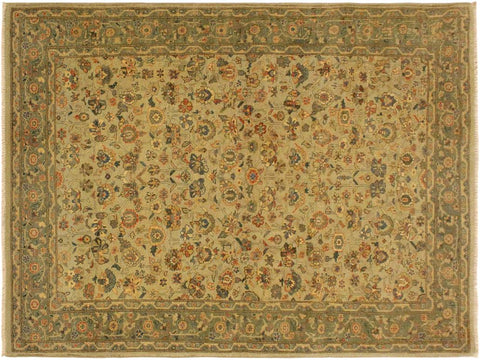 "A02033, 4' 3"" X  5' 9"",Transitional                  ,4' x 6',Tan,GREEN,Hand-knotted                  ,Pakistan   ,100% Wool  ,Rectangle  ,652671141218"