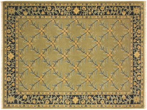 "A02034, 4' 2"" X  6' 0"",Transitional                  ,4' x 6',Green,CHARCOAL,Hand-knotted                  ,Pakistan   ,100% Wool  ,Rectangle  ,652671141225"