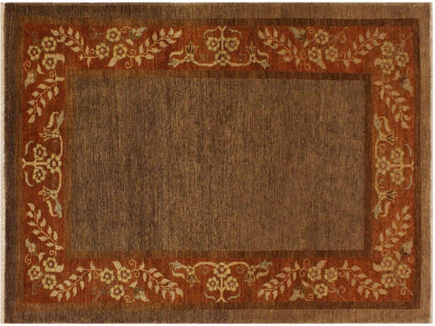 handmade Modern Gabbeh Brown Rust Hand Knotted RECTANGLE 100% WOOL area rug 4 x 6