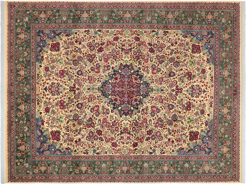 "A02132, 9' 1"" X 12' 0"",Traditional                   ,9' x 12',Natural,GREEN,Hand-knotted                  ,Pakistan   ,100% Wool  ,Rectangle  ,652671142147"