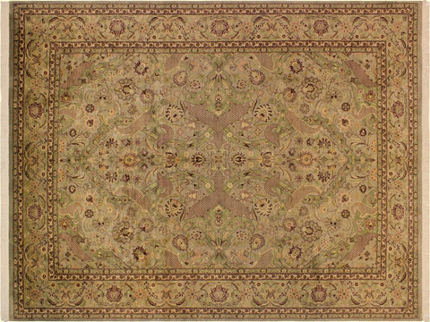"A02230, 9' 1"" X 12' 4"",Transitional                  ,9' x 12',Green,LT. BROWN,Hand-knotted                  ,Pakistan   ,100% Wool  ,Rectangle  ,652671143083"