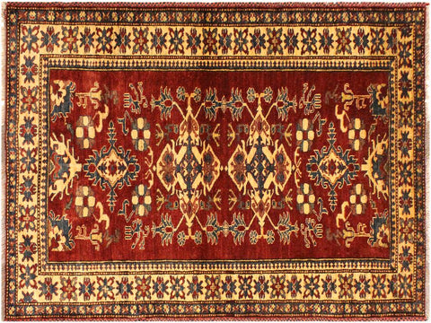 "A02249, 4' 0"" X  5' 7"",Geometric                     ,4' x 6',Red,LT. GOLD,Hand-knotted                  ,Pakistan   ,100% Wool  ,Rectangle  ,652671143267"