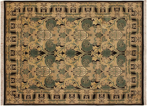 "A02250, 9' 1"" X 12' 1"",Transitiona,9' x 12',Tan,BLACK,Hand-knotted                  ,Pakistan   ,100% Wool  ,Rectangle  ,"