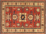 "A02271, 4' 0"" X  6' 2"",Geometric                     ,4' x 6',Rust,IVORY,Hand-knotted                  ,Pakistan   ,100% Wool  ,Rectangle  ,652671143465"