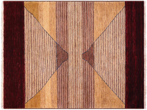 handmade Modern Gabbeh Red Brown Hand Knotted RECTANGLE 100% WOOL area rug 5 x 7