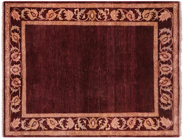 "A02306, 5' 1"" X  6'11"",Modern                        ,5' x 7',Brown,RED,Hand-knotted                  ,Pakistan   ,100% Wool  ,Rectangle  ,652671143786"